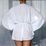 Model Amber - Bílá | krátká bílá plážová tunika na plavky | Beach Swan