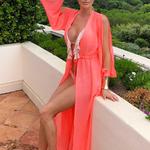 Model Princess - Lososová | dlouhé lososové letní plážové šaty na plavky | Beach Swan