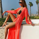Model Princess - Černá | dlouhé lososové letní plážové šaty na plavky | Beach Swan