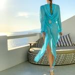 Model Naomi - tyrkysová | dlouhé tyrkysové letní plážové šaty s kapucí na plavky| Beach Swan