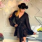 Model Linda | krátký černý plážový přehoz přes plavky nebo plážové šaty | Beach Swan