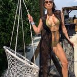 Model Mia | dlouhý krajkový černý plážový přehoz přes plavky | Beach Swan