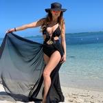 Artemis - černá | dlouhé černé plážové přehozy přes plavky nebo plážové šaty| Beach Swan