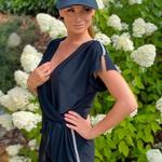 Kelly - černá | krátký letní overal volnějšího střihu s luxusními kamínky | Beach Swan
