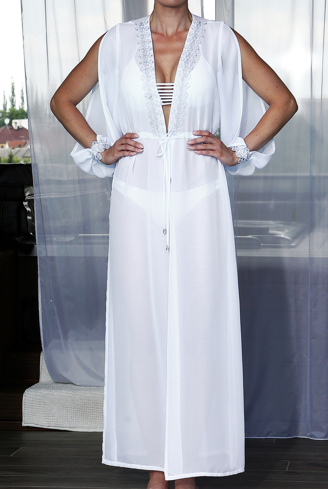 Model Lili - Bílá | dlouhé bílé letní plážové šaty | Beach Swan