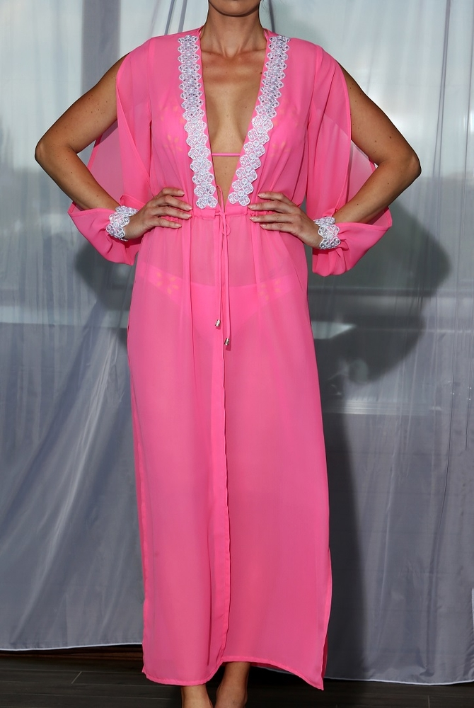 Model Lili - Růžová | dlouhé růžové letní plážové šaty | Beach Swan