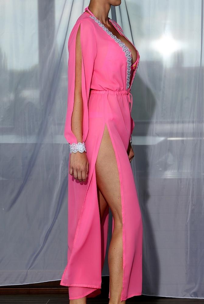 Model Lili - Růžová | dlouhé růžové letní plážové šaty na plavky | Beach Swan