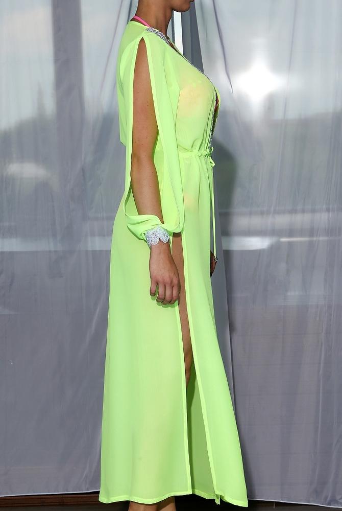 Model Lili - Neon | dlouhé neonové letní plážové šaty na plavky | Beach Swan