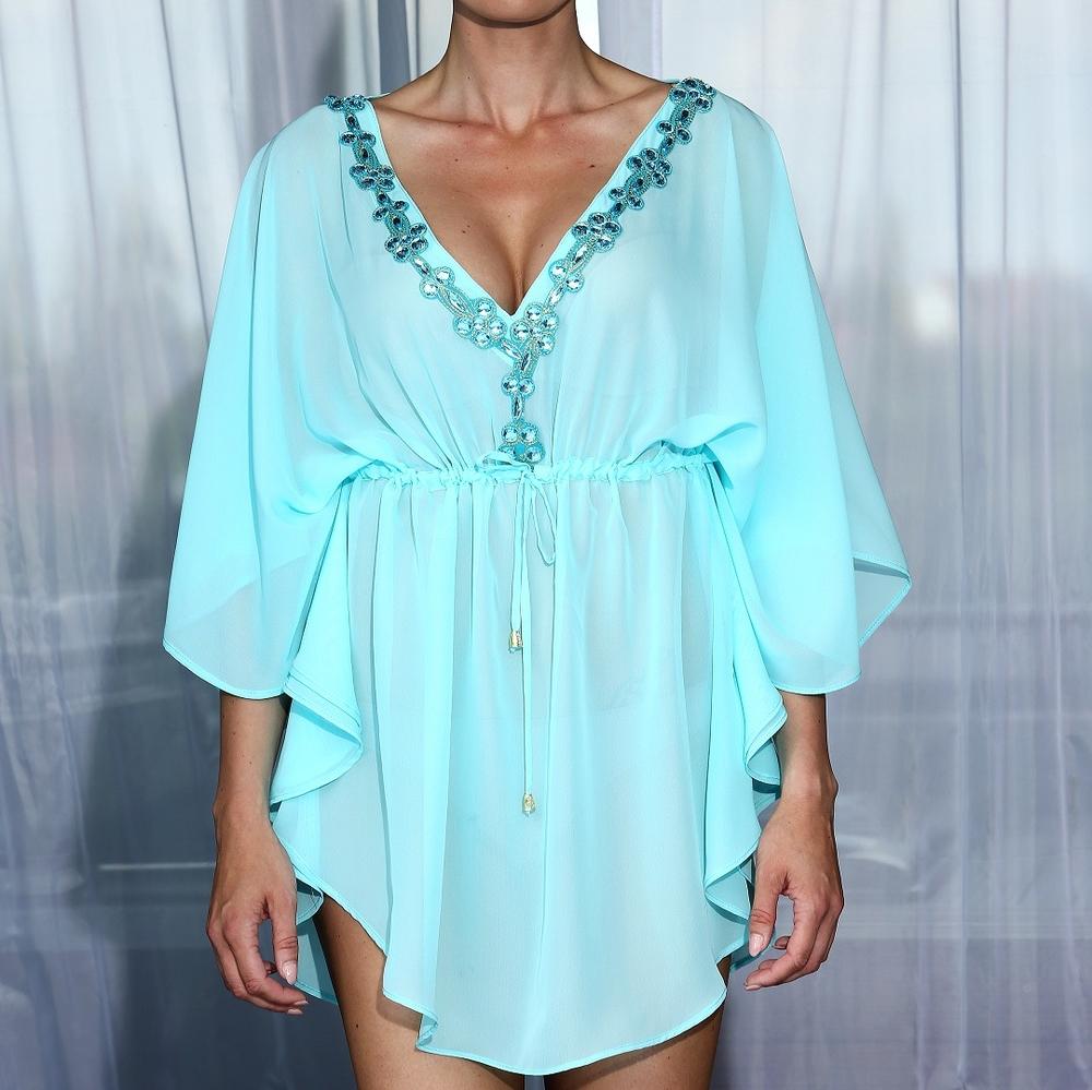 Model Amber - Modrá | dlouhé modré letní plážové šaty | Beach Swan