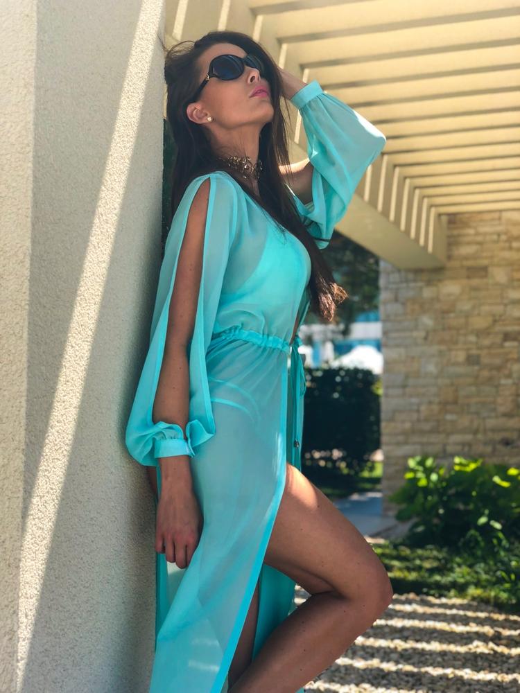 Model Princess - Tyrkysově modrá | dlouhé tyrkysově modré letní plážové šaty na plavky | Beach Swan