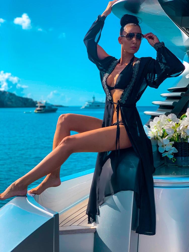 Lili - černá | dlouhé černé plážové přehozy přes plavky nebo plážové šaty| Beach Swan