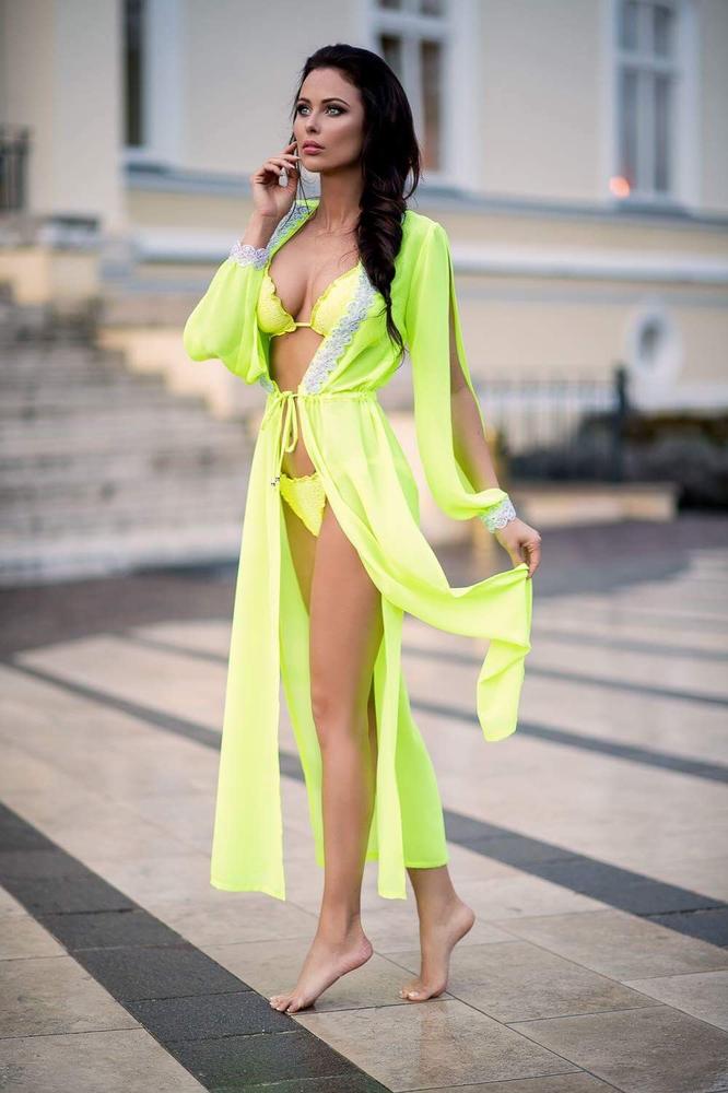 Model Lili - Neonová | dlouhé neonové letní plážové šaty na plavky | Beach Swan